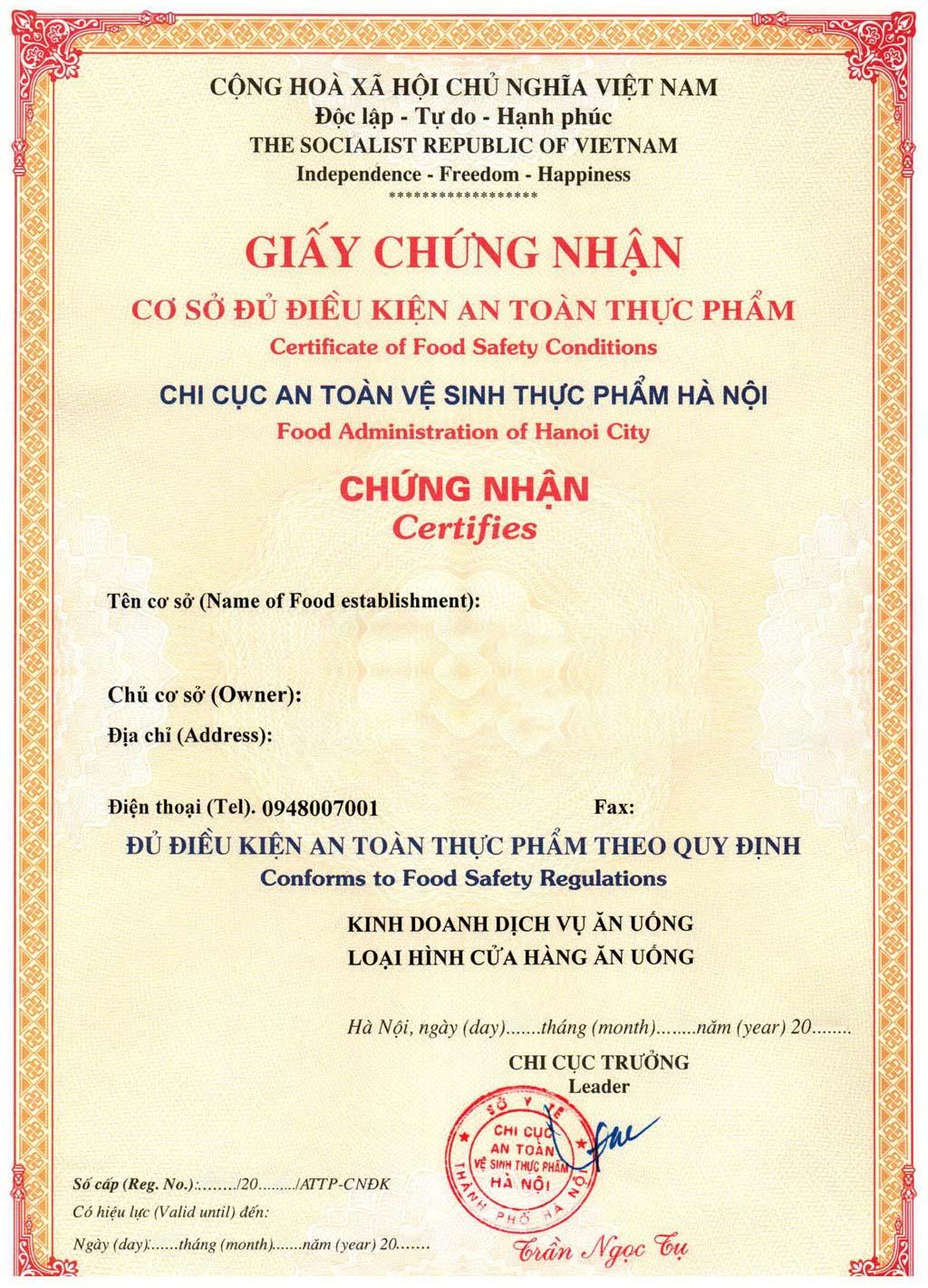 Xin giấy chứng nhận cơ sở đủ điều kiện vệ sinh an toàn thực phẩm