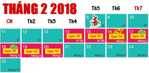 Dự kiến nghỉ tết 2018
