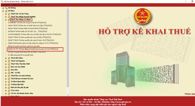 """chọn tờ khai """"05-ĐK-TH-TCT"""" để kê khai thông tin người lao động"""
